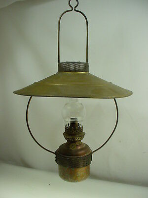 """Vintage Hanging Porch Oil Lamp Copper Lantern Painted Tin Shade 19 1/2"""""""
