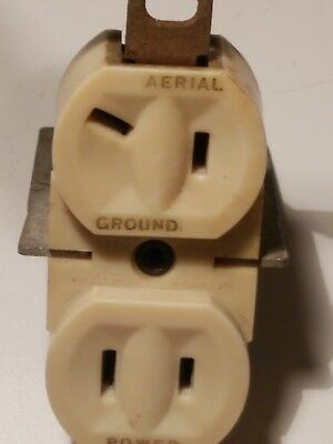 Vintage Brant Electric Duplex Receptacle, Aerial, Ground,And Power