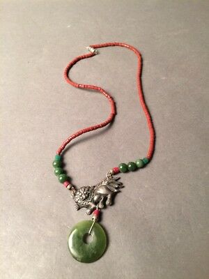 Vintage Jade & Silver Asian Chinese Dragon Beaded Necklace
