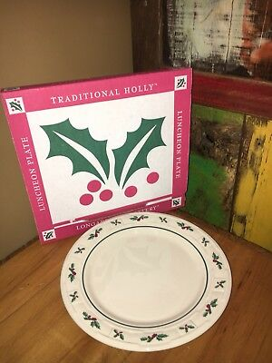 (8)  available Longaberger Traditional  Holly Luncheon Plate New In Box