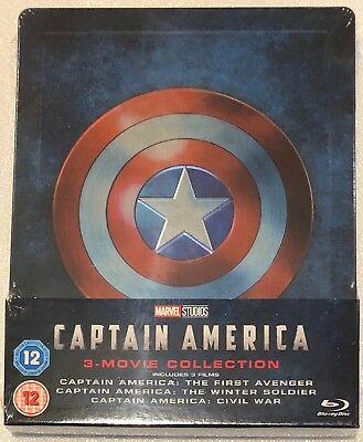 Captain America 3 Movie Collection Steelbook - UK Exclusive Ltd Edition Blu-Ray