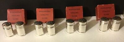 Eight Sterling Individual Salt & Pepper Shakers In Individual Boxes