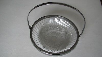 Cut Glass Dish Silver Rim with Handle