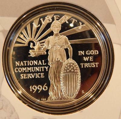 1996-S National Community Service Commemerative SILVER Coin & Stamp Set (BK)