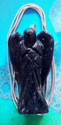 Huge Hand Carved Solid Black Tourmaline Crystal Angel Pendant With Silver Chain