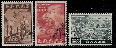 GREECE 1949 & 1948 Stamps - Concentration Camp, Protective Mother, Crete Battle