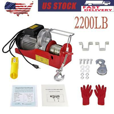 2200LBS Heavy Duty Electric Motor Overdead Winch Hoist Crane Lift