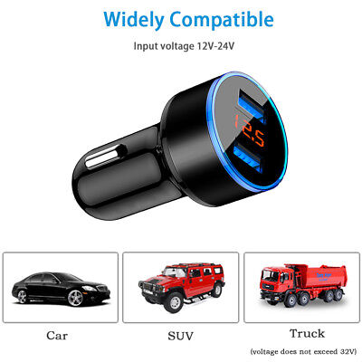 5V/3.1A Dual USB Port Car Charger Quick Charge Adapter LED for iPhone Samsung LG