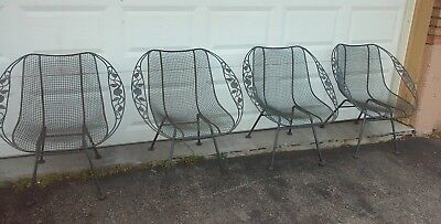 Set of 4 Rare Russell Woodard Mid-Century sculptura wrought iron mesh chairs