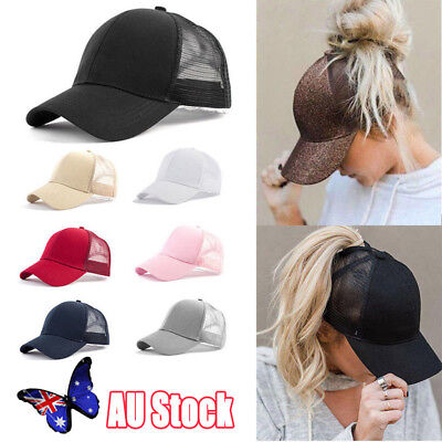 AU Ponytail Baseball Cap Women Messy Bun Baseball Hat Snapback Sun Sport Cap Hot