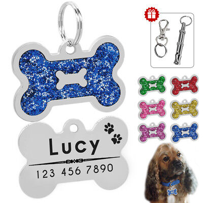 Personalized Dog Tags Disc Customized Cat Pet ID Name Tag Engraved Bone Glitter