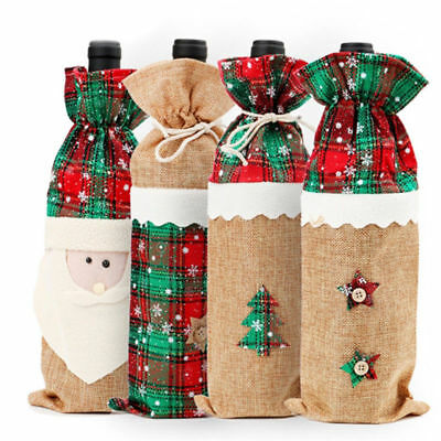 Christmas Wine Bottle Bag Cover Christmas Home Table Decor Ornaments Santa Claus