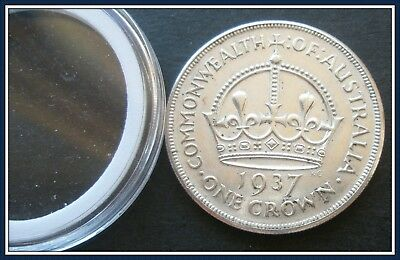 Australia  1937 Crowns(5 shillings) Sterling Silver(92.5%) Top Class EF