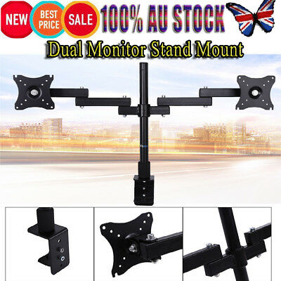 360° Dual HD LED Desk Monitor Stand Mount Bracket 2 Arms Hold Two LCD TV Screen