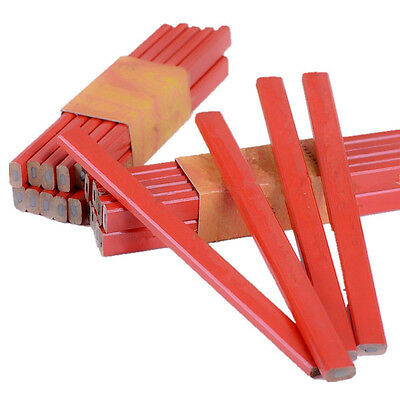 10x17.5cm Octagonal Red Hard Black Lead Carpenter Pencil Wood Working Marking HH