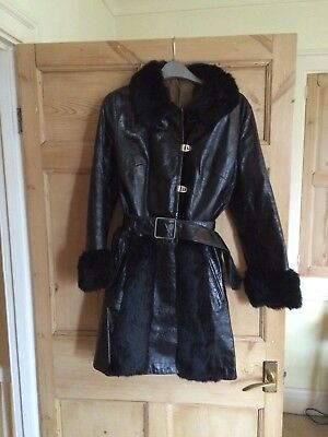 Black Patent Leather and Fur Vintage 60s Coat Size 8 / 10