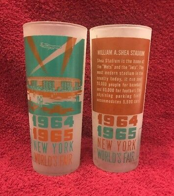 Vintage Pair 1964 1965 New York World's Fair Souvenir Glasses