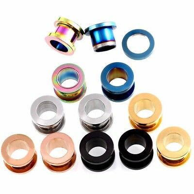 Stainless Steel Stretch Ear Plugs Tunnel Piercing Screw Fit Expansion Ear A Pair