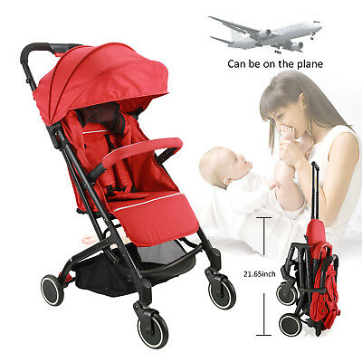 Flame Red - Fold Buggy Baby Stroller Pram Pushchair Travel Jogger Carry–on Plane