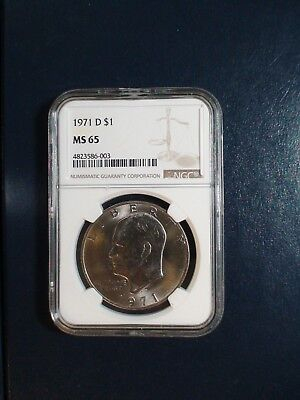 1971 D Eisenhower Dollar NGC MS65 IKE $1 COIN Auction Starts At 99 Cents!