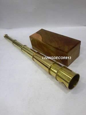 Nautical Maritime Kelvin & Hughes London 1917 Brass Telescope With Wooden Box
