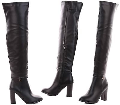 Ladies Thigh High Over The Knee Boots High Block Heels Sexy Faux Leather Boots