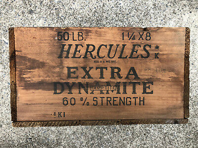 Vintage Antique HERCULES 60% Extra Dynamite Explosives TNT Wood Crate Box