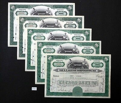 F70 O. A. Sutton Corp. stock certificates, Lot of 5