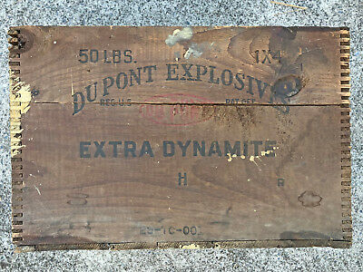 RARE Vintage Antique DuPont Extra H Dynamite Explosives TNT Wood Crate Box