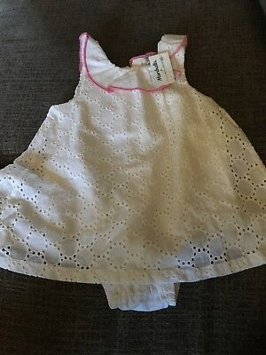 Amy Coe Nwt White Eyelet Romper 3-6 Months Pink Edging