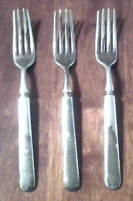 Estate Vintage Lot 3 Jules Wendell & Son Antique Silver Plate Heavy Weight Forks