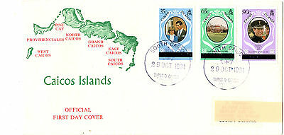 Caicos Islands 1981 Royal Wedding London Set FDC First Day Cover