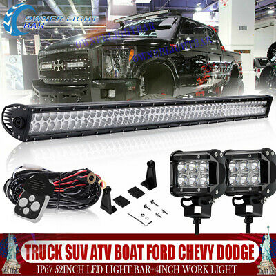 Tri-Row 54Inch Curved Led Light Bar Combo Offroad 4Wd Truck Atv Car Boat 52/50''