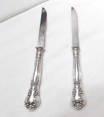 2 Chantilly Sterling Silver Steak Knives-Fine 1895 Gorham-Clean/table Ready