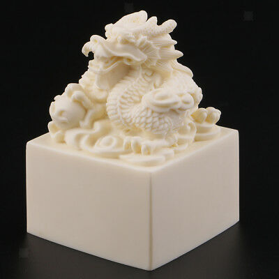 Wooden Art Crafts Seal Asia Old Dragon Statue Seal Stamp Signet Personal DIY