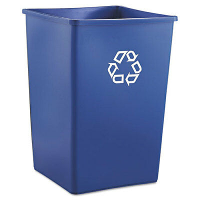 Recycling Container, Square, Plastic, 35gal, Blue