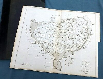 KENT, 1797 - ISLE of THANET & Hundred of RINGSLOW, Original Antique Map - HASTED