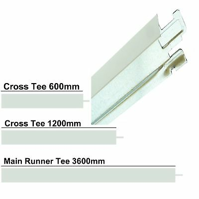 White Suspended Ceiling Grid System 600mm 1200mm 3m 3.6m x 24mm cross tee trim