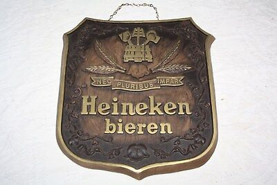 "Vintage Heineken Bieren Hanging Beer Sign - With Chain - 11 1/2"" x 12"" x3/4"""