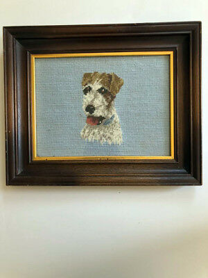 Framed VTG Cute Wire Fox Terrier Dog Wool Hand Stitched Handmade Needlepoint