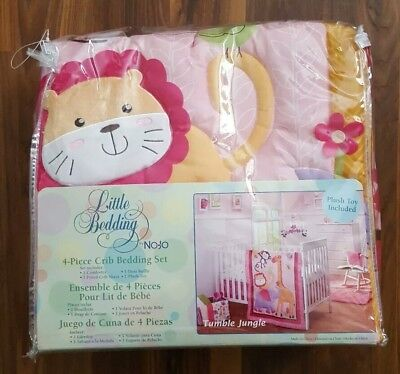 Little Bedding by NOJO Tumble Jungle Baby Girl 4-pc Crib Bedding Set Pink Flower