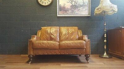 2 Seater Hand Dyed Vintage Cigar Brown Leather