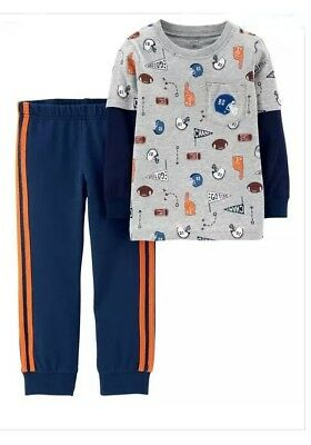 Carters (Boys) 2-Piece Layered-Look Sports Tee & French Terry Jogger Set 18M