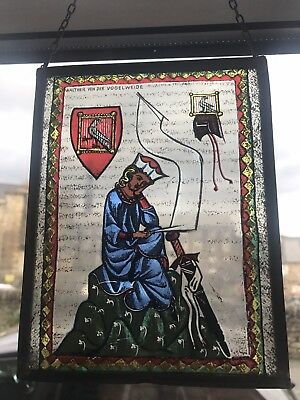 Lead Framed Painted Glass Icon German #2