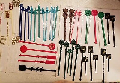 Lot Of 50 Vintage Swizzle Sticks * Drink Stirrers* Advertising *hotels* Restaura