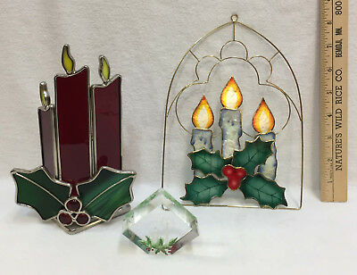 Christmas Candle Holder Stained Glass Window Hanger & Figure Holly Lot 3 Red