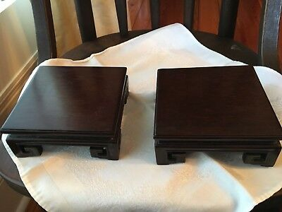 Pair Of Wooden Asian Display Stands