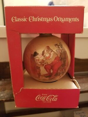 Vintage Coca Cola Classic Santa At Desk Christmas Ball Ornament Circa 1966 NOS