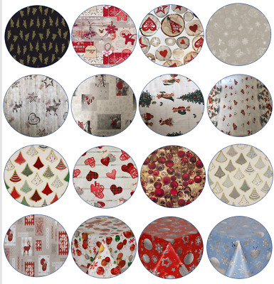 Pvc Wipe Clean Vinyl Table Cloth Christmas Printed Designs Diameter Round Cover