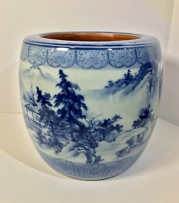 A Large Antique Chinese 14th~17th c. Blue & White Ming Dynasty Jardiniere / Pot